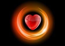 Neon heart. Heart in the neon light - black background Stock Photo