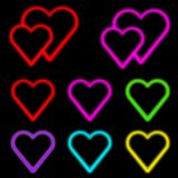 Neon hearts. Colorful neon heart collection on black Stock Photo
