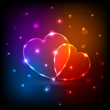 Neon Hearts. Background with shiny neon Hearts, illustration stock illustration
