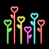 Neon hearts flowers Stock Images