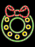 Neon holiday wreath royalty free illustration