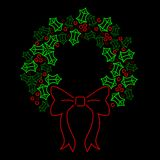 Neon holly wreath Stock Photos