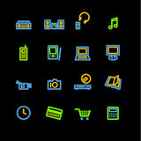 Neon home electronics icons Royalty Free Stock Photos
