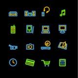 Neon home electronics icons. Vector icon set, neon series Royalty Free Stock Photos