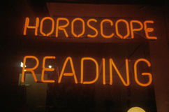 Neon Horoscope Reading sign in Los Angeles, CA Royalty Free Stock Photos