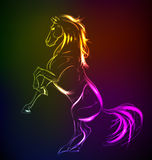 Neon horse against a dark background Royalty Free Stock Image