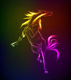 Neon horse against a dark background Stock Image