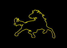 Neon horse shaped sign Royalty Free Stock Image