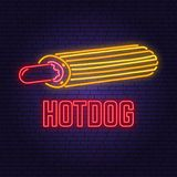 Neon hot dog france retro sign on brick wall background. Design for cafe, restaurant. Vector. Neon design for pub or
