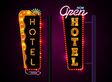 Neon hotel sign, set vertically text, Vector illustration Stock Photography