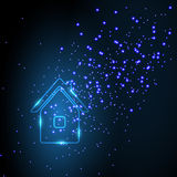 Neon house. On a blue background Royalty Free Stock Image