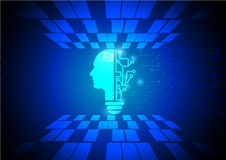 Neon human head. Cpu. blue Circuit board. illustration. pixel.  Royalty Free Stock Photos