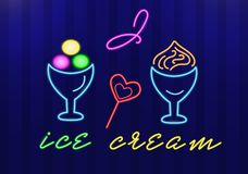 Neon ice-cream in ice-cream bowls and candy hearts with the words I love ice cream. Isolated objects. Vector stock illustration