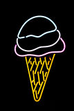 Neon Ice Cream Cone. A neon ice cream cone symbol stock image