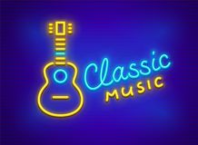 Neon icon of acoustic guitar musical instrument. Neon icon of classic acoustic guitar. Musical instrument made of neon lamps with nighttime illumination. EPS10 Royalty Free Stock Photo