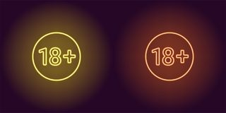 Neon icon of Age limit for Under 18. Yellow and orange vector sign of Restriction for Persons Under 18 years old consisting of neon outlines, with backlight on Stock Photos