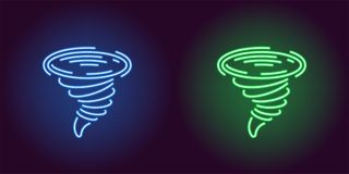 Neon icon of Blue and Green Tornado vector illustration