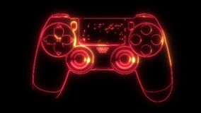 Neon icon of Joystick. Wireless Gamepad consisting of neon outlines. Neon Gaming Joystick with backlight on the dark