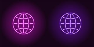 Neon icon of Purple and Violet Globe. Vector illustration of Neon Globe consisting of neon outlines, with backlight on the dark background royalty free illustration