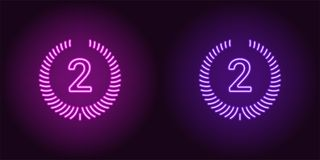 Neon icon of Purple and Violet Second Place. Vector illustration of Second Position consisting of neon outlines, with backlight on the dark background Royalty Free Stock Photo
