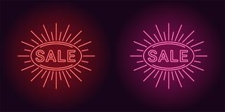 Neon icon of Red and Pink Sale badge royalty free illustration