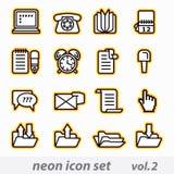 Neon icon set stock illustration