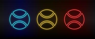 Neon icons, ball, baseball. Set of red, blue, yellow neon vector icon