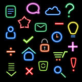 Neon icons Stock Photography