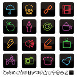 Neon icons set 2 Royalty Free Stock Photography
