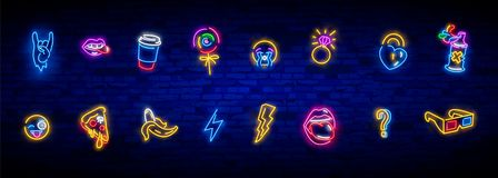 Neon icons set in 80s-90s pop art comic style. Patch badges and pins with cartoon characters, food and things. Vector crazy neon vector illustration