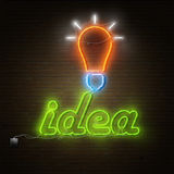 Neon Idea Text With Electricity Lightbulb. Royalty Free Stock Image