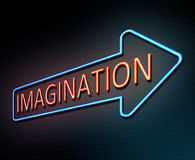 Neon imagination concept. 3d Illustration depicting an illuminated neon sign with an imagination concept Royalty Free Stock Photography