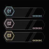 Neon info graphic. Vector black neon info graphic Stock Photos