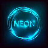 Neon inscription. Electric lamp in the form of words. Retro sign for the club on black background. Blue light in the form of text. Vector illustration Stock Photography