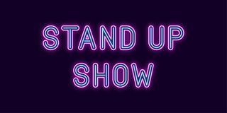 Neon inscription of Stand up Show. Vector stock illustration