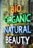 Neon inscriptions, bio, organic, natural, beauty stock photo