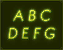 Neon Italic Font Type Alphabet. Glowing in Vector. Royalty Free Stock Photos
