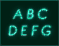 Neon Italic Font Type Alphabet. Glowing in Vector. Stock Image