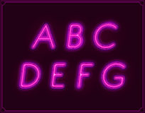 Neon Italic Font Type Alphabet. Glowing in Vector. Royalty Free Stock Photo