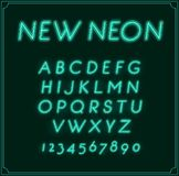 Neon Italic Font Type Alphabet. Glowing in Vector. Stock Photography