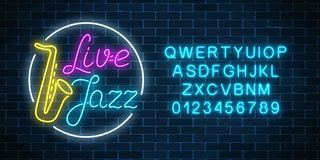 Neon jazz cafe with live music and saxophone glowing sign with alphabet. Glowing street signboard. Neon jazz cafe with live music and saxophone glowing sign with royalty free illustration
