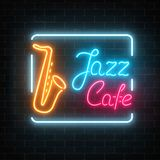 Neon jazz cafe and saxophone glowing sign on a dark brick wall background. Glowing street signboard of bar with karaoke and blues singers. Vector illustration Stock Images