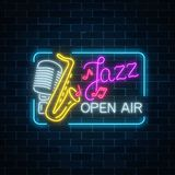 Neon jazz festival banner with retro microphone, saxophone and lettering in rectangle frame. Neon jazz festival banner with retro microphone, saxophone and Royalty Free Stock Photography