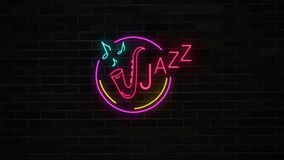 Neon jazz sign with saxophone and notes on brick wall.