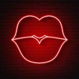 Neon kiss Lips. Vector Woman neon kiss Lips Retro Illustration Royalty Free Stock Photos