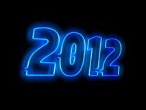Neon lamp 2012. On black background Stock Photo