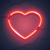Neon lamp heart-02 Royalty Free Stock Images