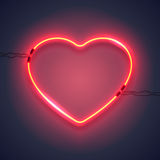 Neon lamp heart-01 Royalty Free Stock Images