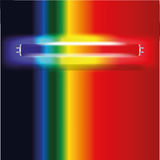 Neon lamp with visible spectrum. From red to blue Stock Image