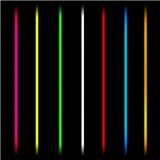 Neon laser tube light lines. Isolated vector illustration